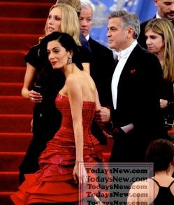 GEORGE CLOONEY and Wife AMEL at MET GALA 5-4-2015 John Barrett/Globe Photos 2015