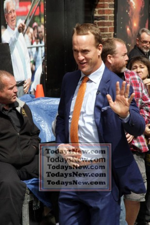 PEYTON MANNING at ''Live with David Letterman Show'' Final show 5=20-2015 John Barrett/Globe Photos 2015