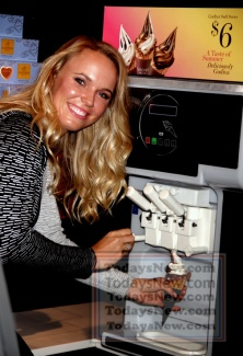 mbassador for a press and greet and promoting the brand's soft serve ice cream at Godiva at MetLife Building
