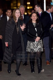 Chelsea Clinton, Bill Clinton and Marc Mezvinsky arrives at the Hillary Clinton fundraiser concert held at Radio City Music Hall in NYC. Photo by Ron Asadorian March 2, 2016