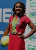 SIMONE MANUEL at Arthur Ashe Kid's Day at Tennis US Open in Flushing Meadow 8-27-2016 John Barrett/Globe Photos 2016