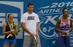 JUAN MARTIN dE POTRO,VENUS WILLIAMS,MONICA PUIG at Arthur Ashe Kid's Day at Tennis US Open in Flushing Meadow 8-27-2016 John Barrett/Globe Photos 2016