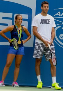 JUAN MARTIN dE POTRO,MONICA PUIG at Arthur Ashe Kid's Day at Tennis US Open in Flushing Meadow 8-27-2016 John Barrett/Globe Photos 2016