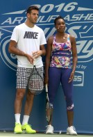 JUAN MARTIN dE POTRO,VENUS WILLIAMS at Arthur Ashe Kid's Day at Tennis US Open in Flushing Meadow 8-27-2016 John Barrett/Globe Photos 2016