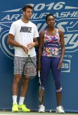 JUAN MARTIN dE POTRO,VENUS WILLIAMS at Arthur Ashe Kid's Day at Tennis US Open in Flushing Meadow 8-27-2016 John Barrett/Globe Photos 2016