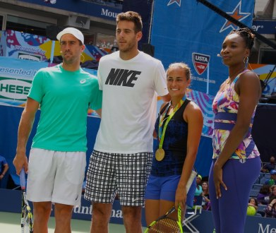 STEVE JOHNSON,JUAN MARTIN dE POTRO,VENUS WILLIAMS,MONICA PUIG at Arthur Ashe Kid's Day at Tennis US Open in Flushing Meadow 8-27-2016 John Barrett/Globe Photos 2016