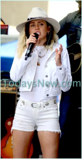 Miley Cyrus performing on NBC ''Today''Show at Rockefeller Plaza